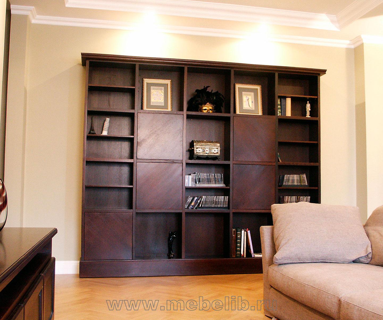Книжный шкаф-библиотека - массив дуба, шпон.